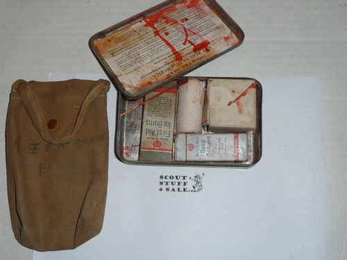 1920s boy scout first aid tin, rare variety, some contents, with carrying case