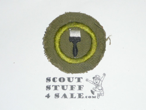 Painting - Type E - Khaki Crimped Merit Badge (1947-1960), glue/paper on back