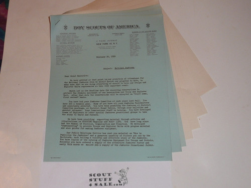 1950 National Jamboree Lengthy Memo from Arthur Schuck on National Stationary to Scout Executives regarding Jamboree Issues