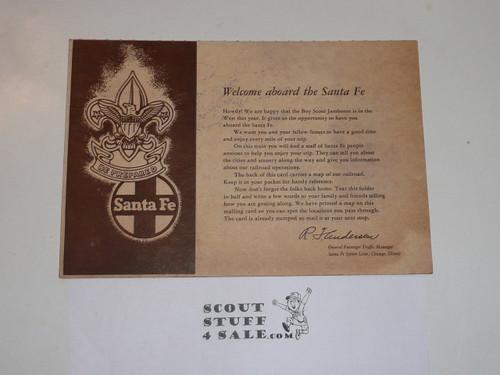 1953 National Jamboree Santa Fe Railroad Welcome Card and Map