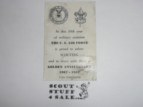 1957 National Jamboree US Air Force postcard saluting the Golden Anniversary of Scouting