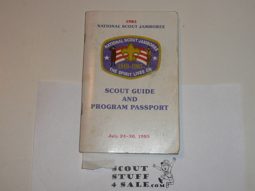 1985 National Jamboree Scout Guide and Program Passport with many pages of stickers and stamps