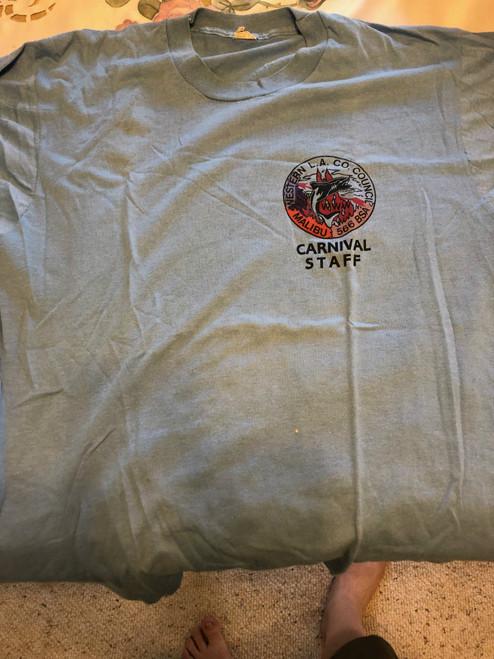 Order of the Arrow Lodge #566 Malibu 1980's Carnival STAFF Tee Shirt, Mens Large, Style #2