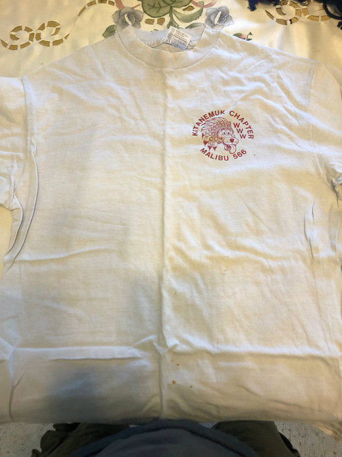 Order of the Arrow Lodge #566 Malibu 1980's Kiteanemuk Chapter Tee Shirt, Mens Large, used with some small stains