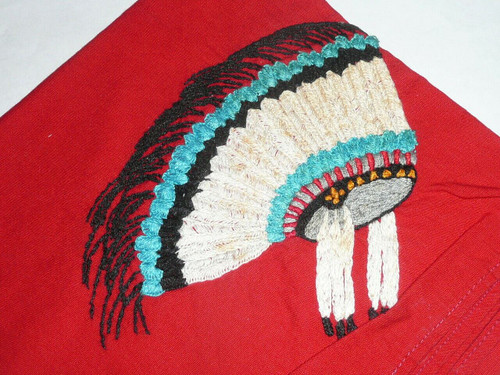 Unknown origin Embroidered Indian Headdress Neckerchief, great detail
