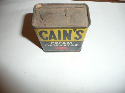 Vintage Spice Cain's Brand Cream of Tartar Spice tin 2 ozs.