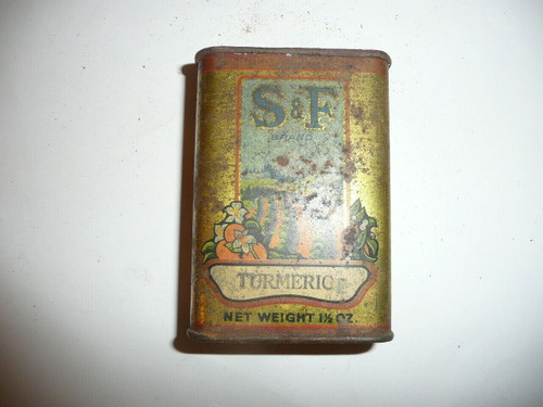 Vintage Spice S & F Brand Tumeric Spice tin