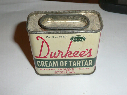 Vintage Spice Durkee Cream of Tartar Metal Advertising Tin