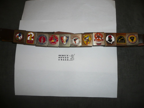 1969 National Jamboree Official leather Belt with Bronze Buckle and the complete NJ and Region belt loop sets, used