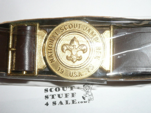 "1973 National Jamboree Official Leather Belt, 34"" Waist, New in Package"