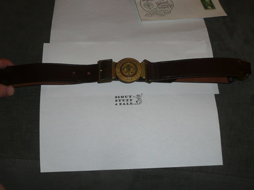 """1973 National Jamboree Official Leather Belt, 34"""" Waist, No visible use"""