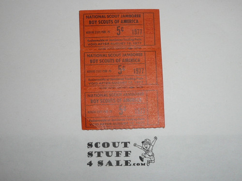 1977 National Jamboree 3 - 5 cent trading post tickets