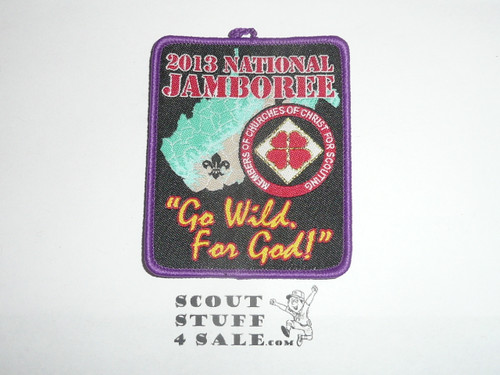 2013 National Jamboree Go Wild for God Patches (4 different Bdr Colors), Churches of Christ for Scouting