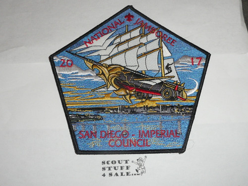 2017 National Jamboree JSP - San Diego Imperial County Council 7 piece Patch Set, part of a larger set