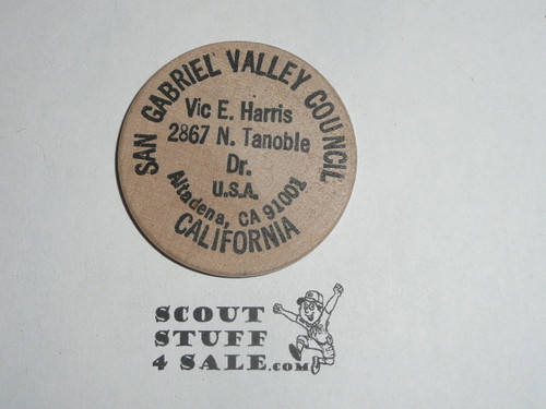 1985 National Jamboree San Gabriel Valley Council, Vic Harria, Boy Scout Wooden Nickel