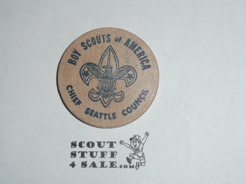 Chief Seattle Council 1972 Ice Cream Social Boy Scout Wooden Nickel