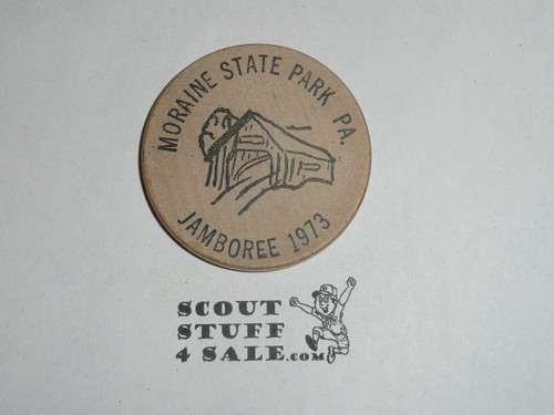 1973 National Jamboree Troop 462 Montezuma IN Boy Scout Wooden Nickel