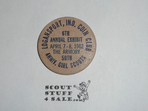 1962 Logansport IND Coin Club Show Girl Scout Wooden Nickel