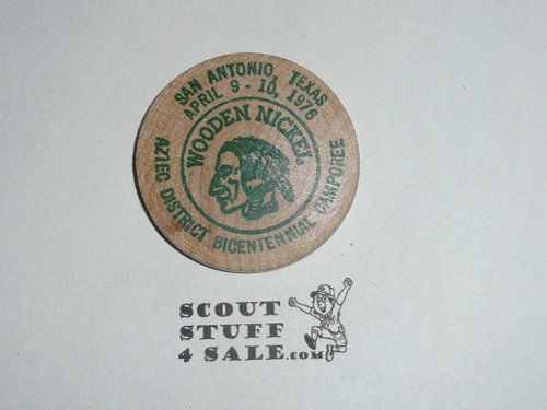 1976 Alamo Area Council Camporee Boy Scout Wooden Nickel, green ink