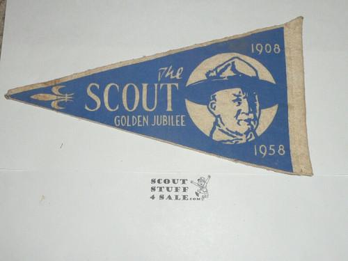 1958 Golden Jubilee of Scouting 2-sided Felt Pennant, Likely UK Origin
