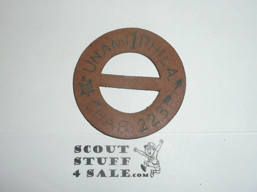 1950's Treasure Island Camp Leather Neckerchief Slide, round, Boy Scout