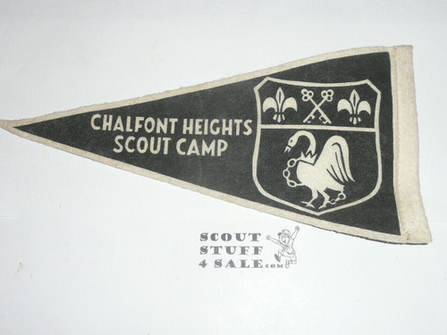 Chalfont Heights Scout Camps 2 sided Felt Pennant, 1940's
