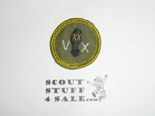 Hiking - Type F - Rolled Edge Twill Merit Badge (1961-1968), sewn