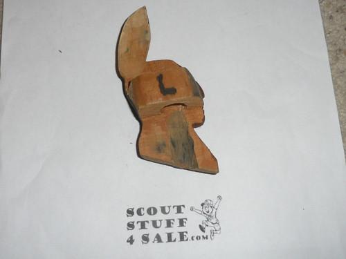 Carved Indian Brave Profile neckerchief  Slide
