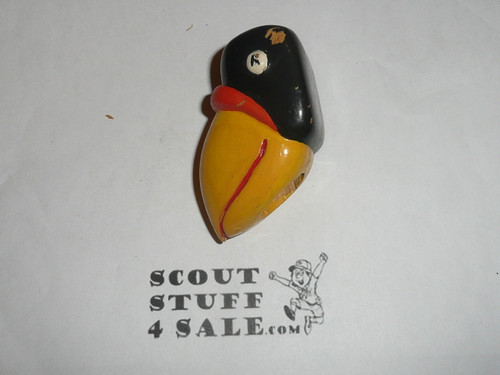Carved and Painted Magpie Neckerchief Slide, well done!