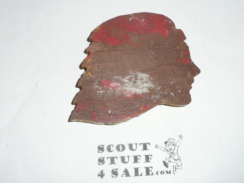 Nicely Carved Indian head neckerchief Slide but no slide glued on