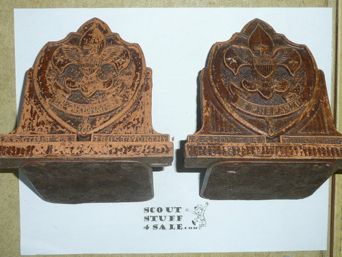 boy scout sorrocco pressed wood book ends, 5.25 wide by 5.25, shield type, some fade to color