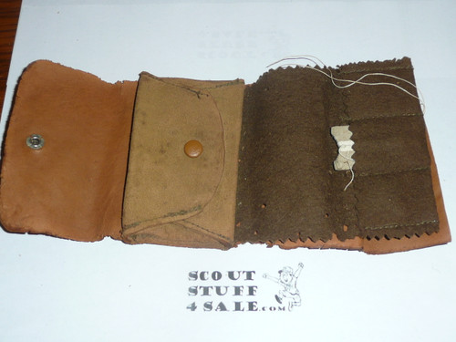Leather Boy Scout Sewing Kit, homemade