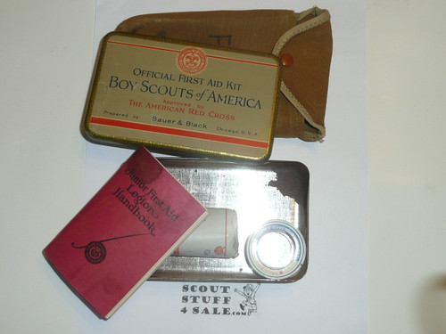 1920s boy scout first aid tin, rare variety, some contents, with carrying case #2
