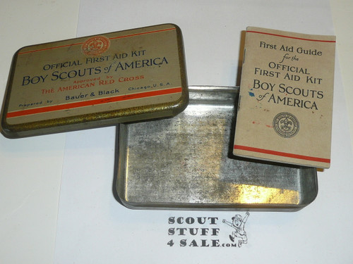 1920s boy scout first aid tin, rare variety, tin and booklet only
