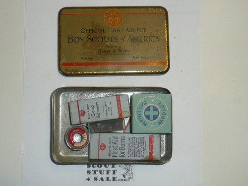 1920s boy scout first aid tin, rare variety, with some contents