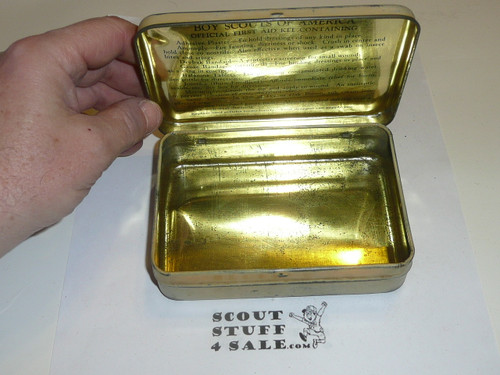 1920s boy scout first aid tin, rare variety, no contents, worn top of tin