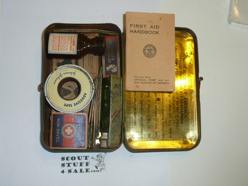 1930's Boy Scout Johnson and Johnson First Aid Tin, WIth Contents, Wear to Tin #2