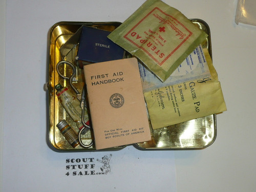 1930's Boy Scout Johnson and Johnson First Aid Tin, WIth Contents, Wear to Tin #3