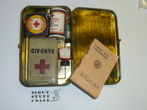 1930's Boy Scout Johnson and Johnson First Aid Tin, WIth Contents, Wear to Tin #4