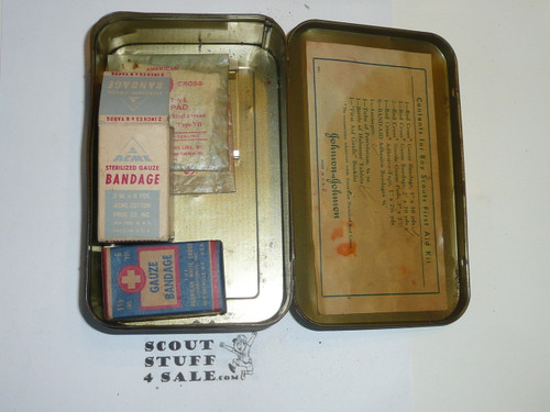 1930's Boy Scout Johnson and Johnson First Aid Tin, WIth Contents, Wear to Tin #5