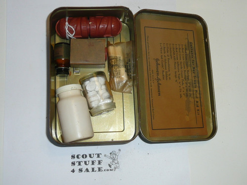 1930's Boy Scout Johnson and Johnson First Aid Tin, WIth Contents, lite Wear to Tin #6