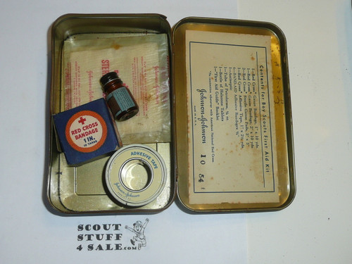 1930's Boy Scout Johnson and Johnson First Aid Tin, WIth some Contents, lite Wear to Tin #7
