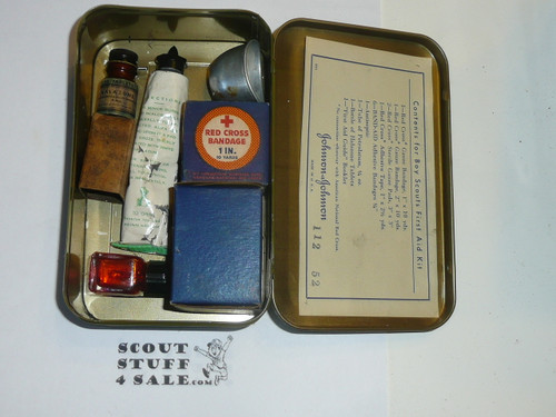 1930's Boy Scout Johnson and Johnson First Aid Tin, WIth Contents, lite Wear to Tin #9