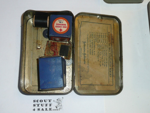 1930's Boy Scout Johnson and Johnson First Aid Tin, WIth some Contents, Wear to Tin #9