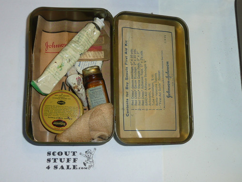 1930's Boy Scout Johnson and Johnson First Aid Tin, WIth some Contents, Lite Wear to Tin #10