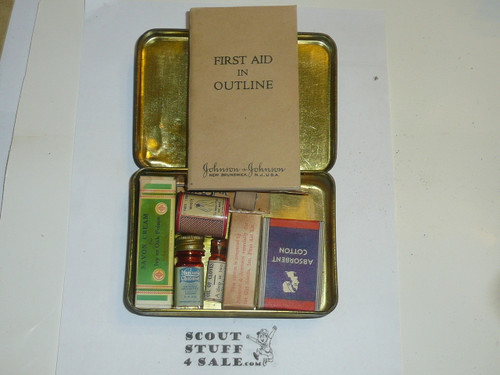 1930s girl scout first aid tin with case, some contents