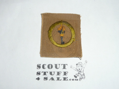 Public Health - Type A - Square Tan Merit Badge (1911-1933), used with emblem on the back