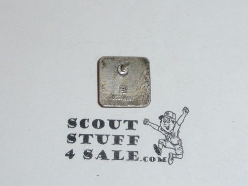 Eagle Scout Lapel Pin, 1970's STERLING Silver, Stange hallmark raised, square, post has come off