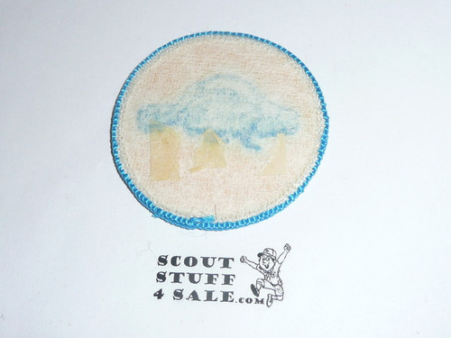 Beaver Patrol Medallion, Yellow Twill with paper back, 1972-1989, sewn