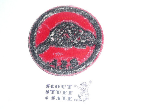 Beaver Patrol Medallion, Red Twill with red rubber back, 1955-1971